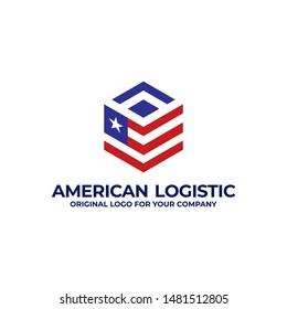American logistic logo design dengan perpaduan antara simbol bendera amerika dan box. Delivery logo inspiration. can be used as symbols, brand identity, company logo, icons, or others.