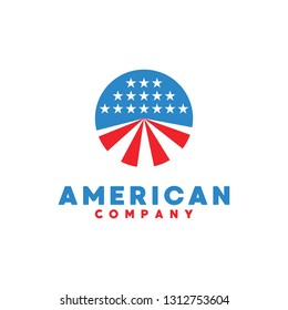 American logo design vector template with flat color and circle Concept style. Flag symbol for nationalism, patriotic, democratic, company and business.