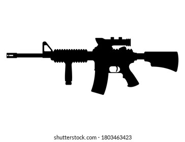 American m16 military rifle with aim, icon self defence automatic weapon concept simple black vector illustration, isolated on white. Shooting gun, protection type of firearms.