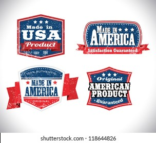 american made in usa retro vintage old school labels with removable grunge effect