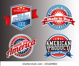 American made in USA retro vintage patriotic labels