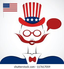 american man silhouette with mustache, hat and national flag