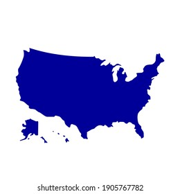 American map. All states map vector image isolated