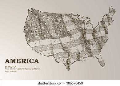 American map flag waving illustration.