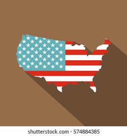 American map icon. Flat illustration of american map vector icon for web