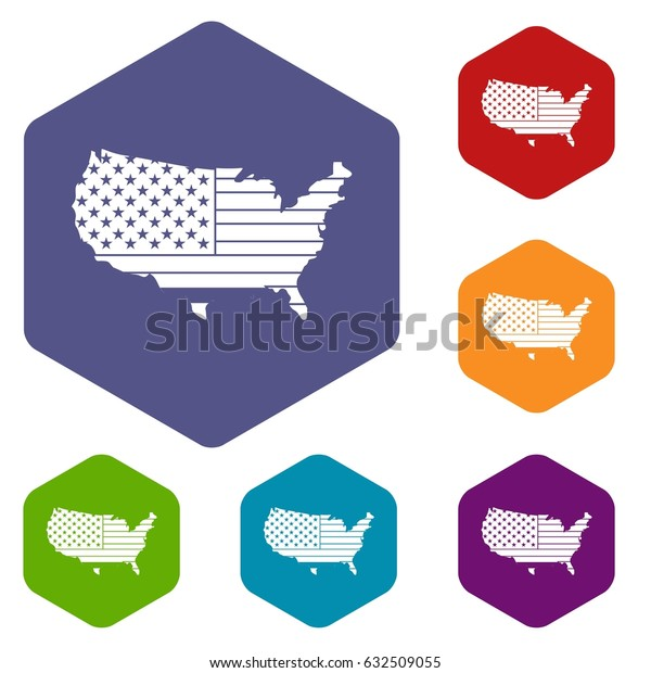 American map icons set hexagon isolated vector illustration