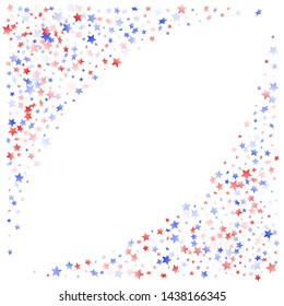 American Memorial Day stars background. Holiday confetti in US flag colors for Patriot Day. Trendy red blue white stars on white American patriotic vector. July 4th stardust elements.