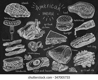 American menu on chalkboard background, steak, sausage, bacon, sandwich, mushroom, grilled chiken, eggs, eggs and bacon, grill, grilled ribs, ribs, ham, hot dog, burger, ketchup