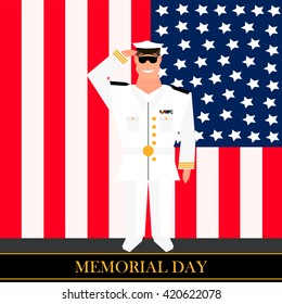 American military officer in the background on american flag in style of cartoon  and flat. Happy Memorial day vector card. Memorial day text card with stars and stripes. Memorial day poster.