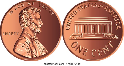 American money Lincoln Memorial, United States one Cent oder Penny, münze with President Abraham Lincoln on obverse and Lincoln Memorial on reverse