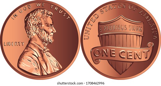 American money Lincoln Union Shield, United States one cent or penny, coin with President Abraham Lincoln on obverse and Union shield on reverse