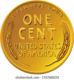 American money Lincoln Wheat cent, United States one cent or penny, coin with wheat stalks on reverse