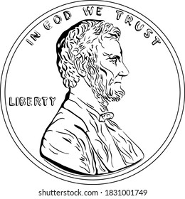 American money, United States one cent or penny, President Lincoln on obverse. Black and white image