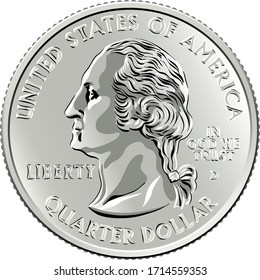 American money, United States Washington quarter dollar or 25-cent silver coin, first United States president profile George Washington on obverse
