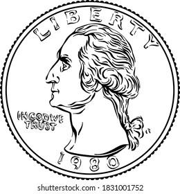 Das amerikanische Geld, die Vereinigten Staaten Washington Vierteldollarmünze oder 25-Cent-Goldmünze, der erste US-Präsident Washington auf der Straße. Schwarz-Weiß-Bild