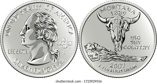 American money, USA Washington quarter dollar or 25-cent silver coin, first US president George Washington on obverse, American bison skull on reverse