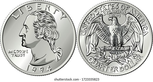 American money, Washington quarter dollar or 25-cent silver coin, first US president George Washington on obverse, Bald eagle on reverse
