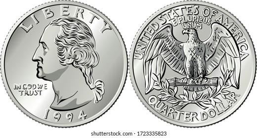 American money, Washington Vierteldollarwert oder 25-Cent-Silbermünze, erster US-Präsident George Washington auf obverse, Bald Adler auf umgekehrt