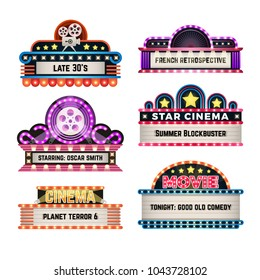 American motel and movie retro signs with light frame. Vintage casino billboards vector set. Illustration of neon billboard and signboard