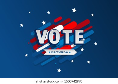 American motion background election day. Usa debate of president voting 2020. Election voting poster. Vote 2020 in USA, banner design.  Political election campaign. Flyer vector blue red white logo