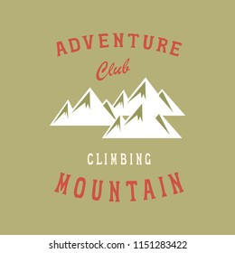 """American Mountain club"". Original handmade alphabet. Vintage font design and poster. Custom typeface. Vector."