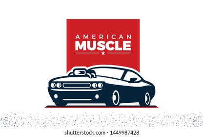 American Muscle Car Illustration Of Mustang car with a modified turbo engine on the hood