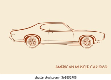 American Muscle Car Silhouette 60 S Vintage Stock Vector Royalty