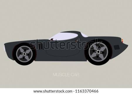 American Muscle Car Supercar Side View Stock Vector Royalty Free