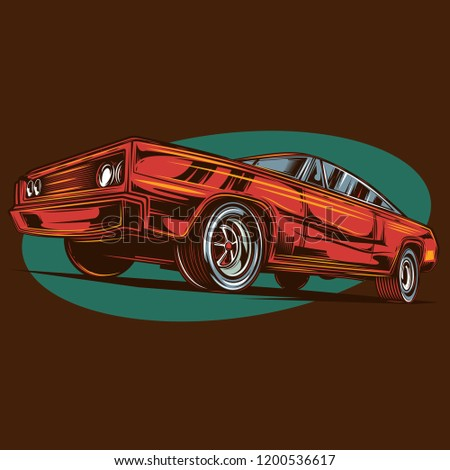c3958b19 Royalty-free stock vector images ID: 1200536617. American Muscle car. Vector  image. Print on t-shirt or stickers. - Vector