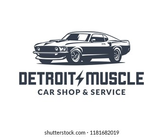 American muscle car vector logo isolated on white background. 60s classic car illustration.