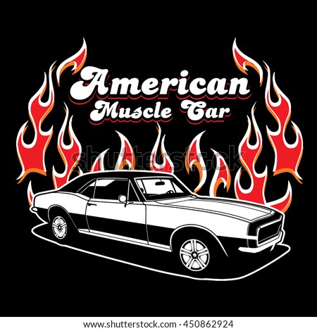 454850aa Royalty-free stock vector images ID: 450862924. American Muscle Car vector  T-shirt design.Muscle Car print. - Vector