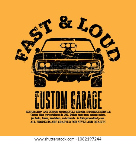 e863cc5b Royalty-free stock vector images ID: 1082197244. American muscle cars  label, vector muscle car icon, print and banner, t-shirt design - Vector