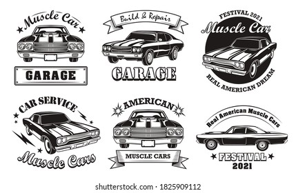 American muscle cars set. Monochrome labels with classic vintage vehicles, badges with text. For restoration or repair service emblem templates
