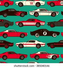 American muscle classic racing car seamless pattern