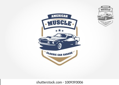 American Muscle Logo Design.This logo can be used for old style or classic car garage, shops, repair, restorations.