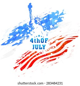 American national flag colors paint stroke with illustration of Statue of Liberty for 4th of July, Independence Day celebration.
