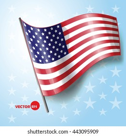 American national flag, country and travel. Flag of USA on blue background with stars. Vector graphic illustration waving flag, political and patriotic cards, stamp design. United States of America,