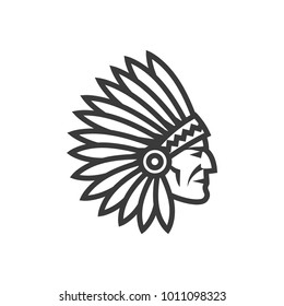 American native chief head icon. Indian logo