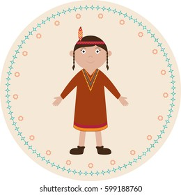 American native girl vector illustration