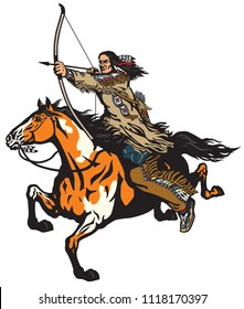 American native Indian archer on a horseback riding a pinto colored pony horse and shooting a bow and arrow . Nomadic horseman warrior or hunter on a mustang in the gallop . Isolated vector illustrati