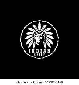 American Native, Indian Chief Logo design vector illustration