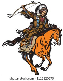 American native Indian chief wearing a feather war bonnet and riding a mustang pony horse in the gallop. Nomadic horseman archer warrior or hunter sitting on a horseback and holding a bow . Isolated v
