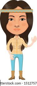 American Native Indian Girl Cartoon Character Illustration