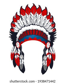 American native indian head dress in vector
