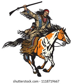 American native Indian man holding a rifle and riding a pinto colored pony horse in the gallop . Nomadic horseman warrior or hunter on a mustang in the gallop . Isolated vector illustration
