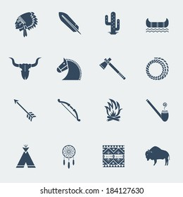 American native pictograms isolated on white.Vector icons in flat style design