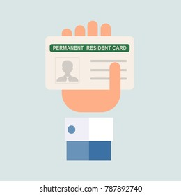 American Naturalization or Permanent Residency Card. Flat design, vector.