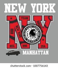 American New york college retro style graphic design vector art