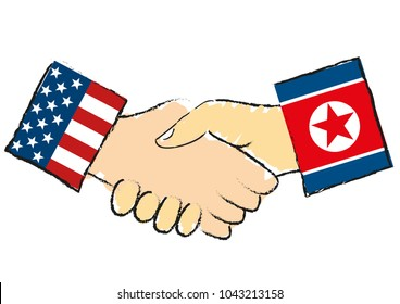 American and the North Korean handshake isolated symbolizes that North Korea leader Kim Jong-un has invited President of USA the United States of America Donald Trump to meet for negotiations - vector