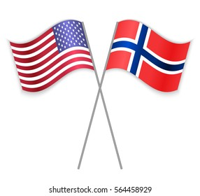 American and Norwegian crossed flags. United States of America combined with Norway isolated on white. Language learning, international business or travel concept.